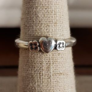 James Avery Heart With Two Flowers Ring